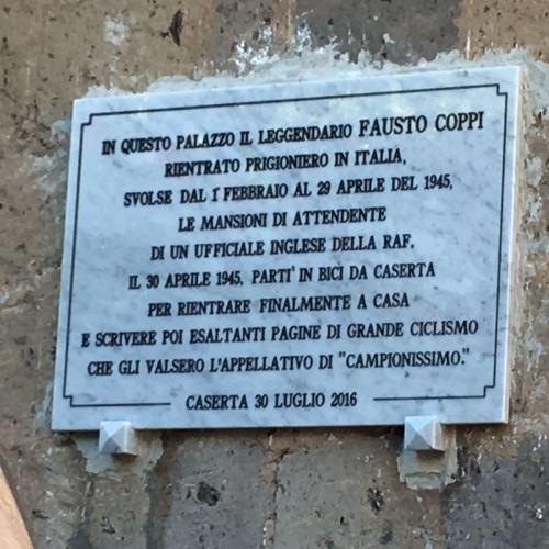 Fausto Coppi. Una lapide ad Ercole in ricordo del campionissimo