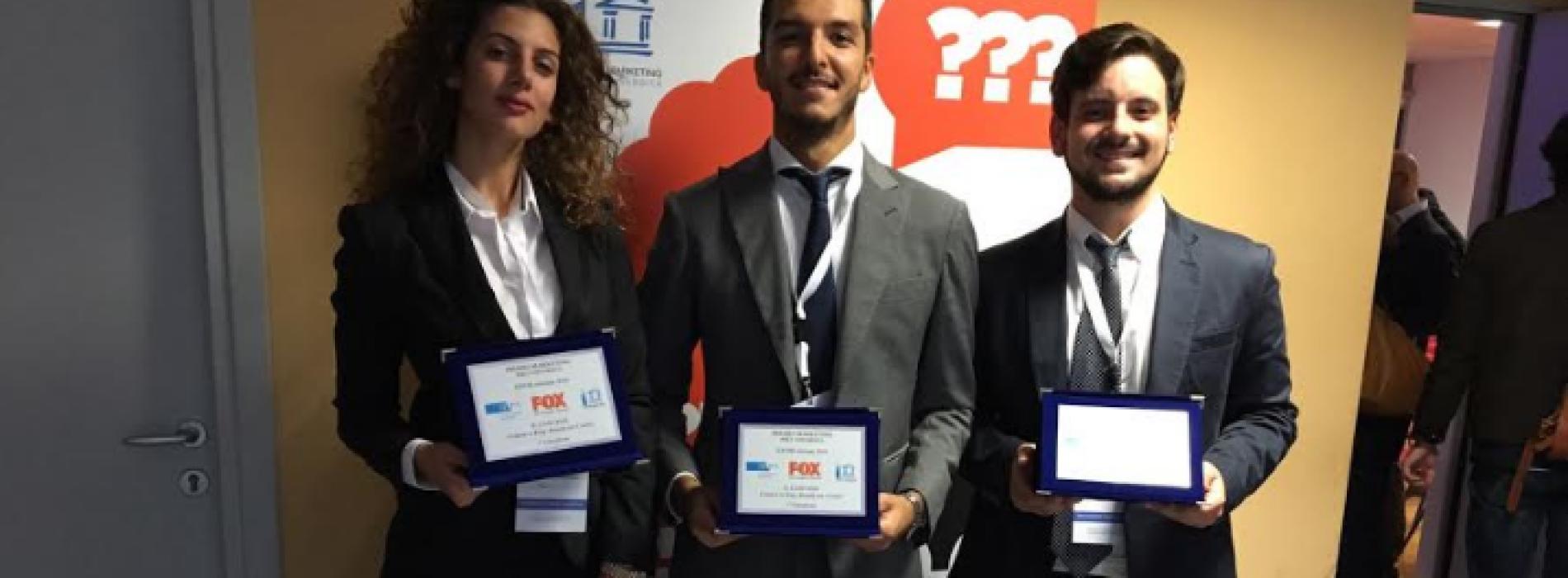 Premio Marketing Fox. Sul podio tre studenti di Economia