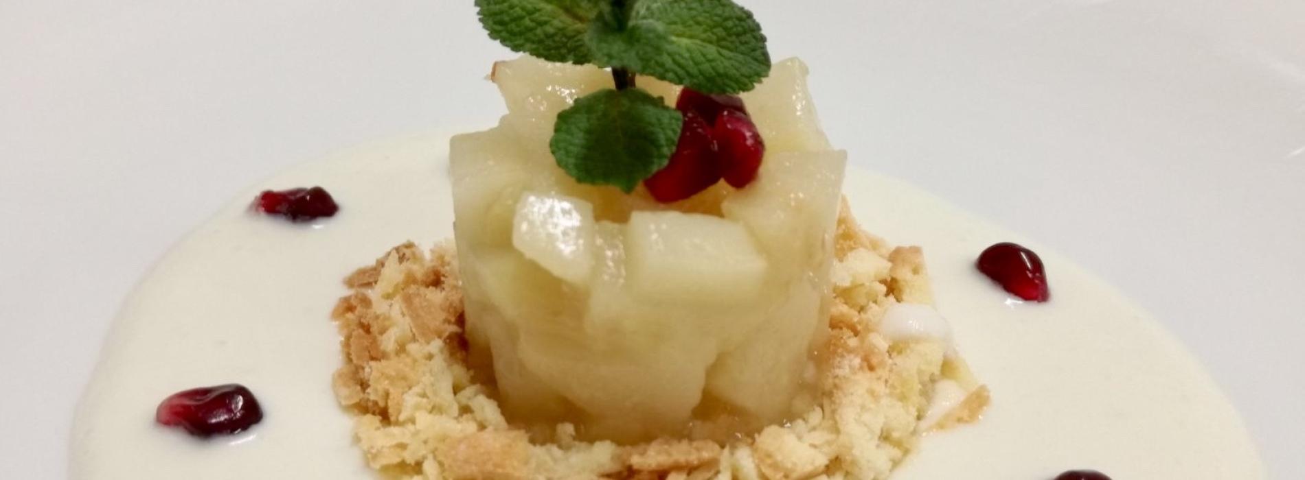 Bocconi, 8 marzo da Pane e Acqua crostata di pera scomposta