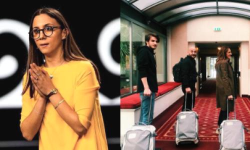 Aurora Leone, una stella della tv in viaggio con il suo trolley