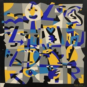 Ugo Nespolo - intarsio su legno cm. 60 x 60 _Dodici icone_
