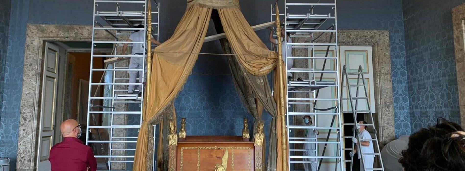 Reggia, restauro dei letti di Gioacchino Murat e Francesco II