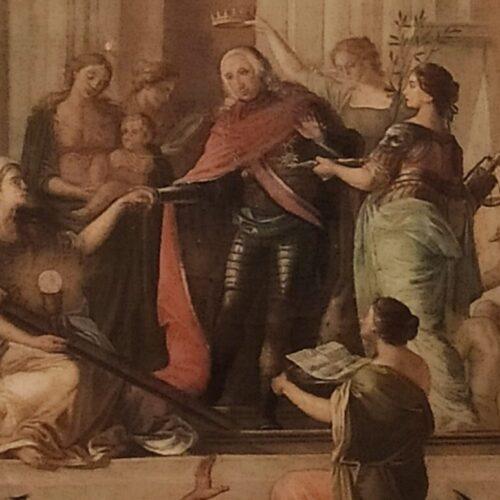 Ferdinando IV sorregge la fede, alla Reggia la tela con le Virtù